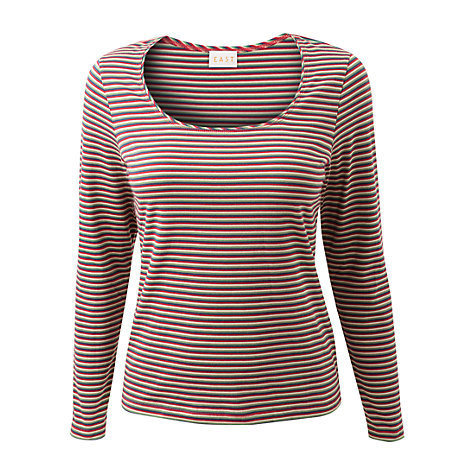 Buy East Pierre Stripe Top, Multi Online at johnlewis.com