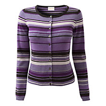 Buy East Merino Striped Cardigan, Lilac Online at johnlewis.com