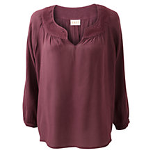 Buy East Embroidered Yoke Blouse, Merlot Online at johnlewis.com