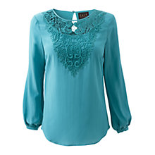Buy East Lace Trim Blouse, Riverblue Online at johnlewis.com