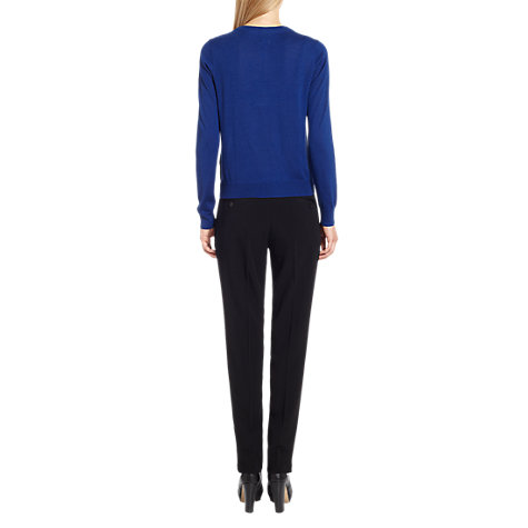 Buy Jigsaw Sateen Waistband Tailored Trousers, Black Online at johnlewis.com