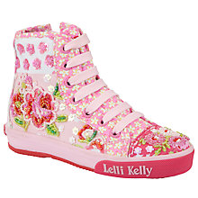 Buy Lelli Kelly Jasmine Floral Hi-Top Trainers, Pink Online at johnlewis.com
