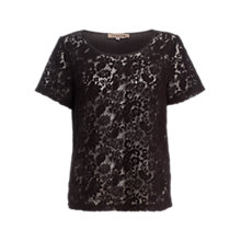 Buy Jigsaw Lace T-Shirt, Black Online at johnlewis.com
