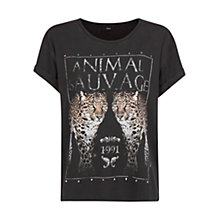 Buy Mango Leopard Image Stud T-shirt, Black Online at johnlewis.com