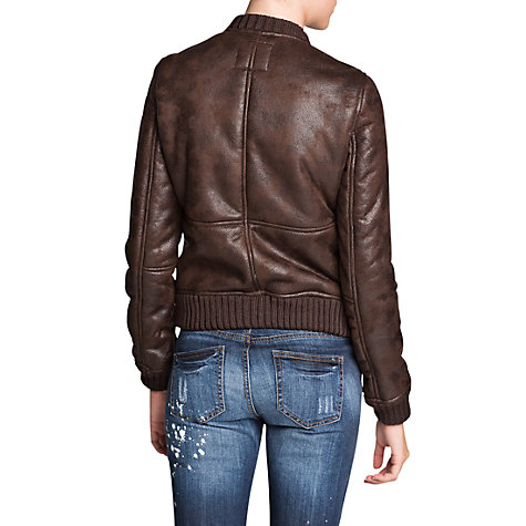 Buy Mango Faux Shearling-Lined Bomber Jacket, Dark Brown Online at johnlewis.com