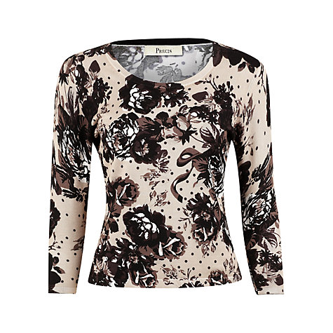 Buy Precis Petite Floral & Spot Jumper, Natural Online at johnlewis.com