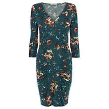 Buy Oasis Rose Floral V Neck Dress, Indigo Online at johnlewis.com