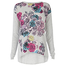 Buy Warehouse Floral Print Jumper, Light Grey Online at johnlewis.com