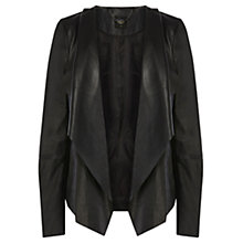 Buy Oasis Waterfall Leather Jacket, Black Online at johnlewis.com