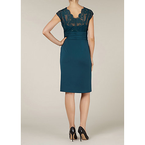 Buy Alexon Lace Top Jersey Dress, Green Online at johnlewis.com
