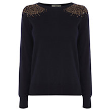 Buy Oasis Sequin Shoulder Jumper, Navy Online at johnlewis.com