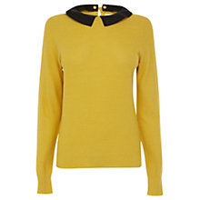 Buy Oasis Faux Leather Collar Jumper, Ochre Online at johnlewis.com