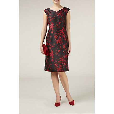 Buy Jacques Vert Jewel Floral Print Dress, Red Online at johnlewis.com