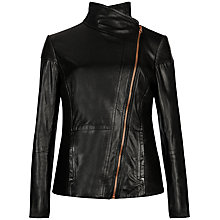Buy Ted Baker Lahara Leather Jacket, Black Online at johnlewis.com