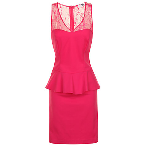 Buy True Decadence Lace Detail Peplum Dress, Pink Online at johnlewis.com