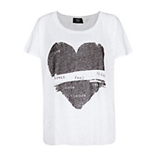 Buy Mango Printed Linen Tee, White Online at johnlewis.com