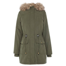 Buy Oasis Ellie Faux Fur Lined Parka, Green Online at johnlewis.com