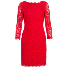 Buy Adrianna Papell Lace Sleeve Dress, Red Online at johnlewis.com