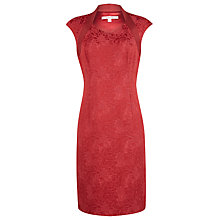 Buy Jacques Vert Structured Floral Shift Dress, Red Online at johnlewis.com