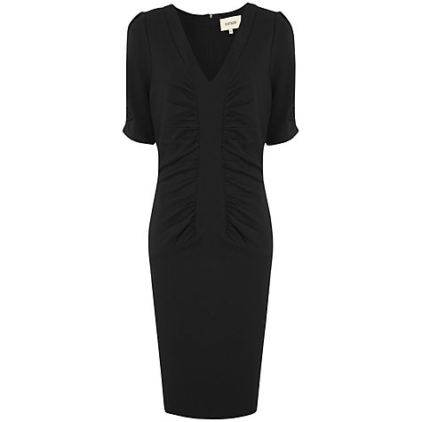 Buy Havren V Neck Plain Ruched Dress, Black Online at johnlewis.com