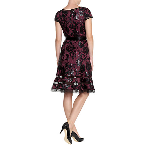 Buy Adrianna Papell Sequin Embroidered Dress, Rhubarb Online at johnlewis.com