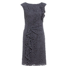 Buy Adrianna Papell Lace Ruffle Front Dress, Grey Online at johnlewis.com