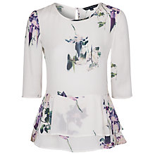 Buy French Connection Water Flower Drape Top,White Online at johnlewis.com