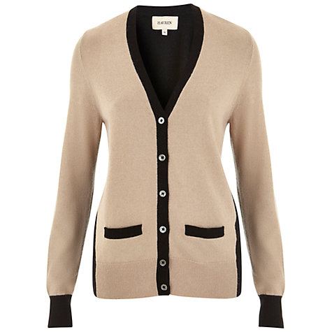 Buy Havren V Neck Colour Block Cardigan, Camel Online at johnlewis.com