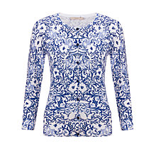 Buy John Lewis Capsule Collection Scroll Print Cardigan, Blue/White Online at johnlewis.com