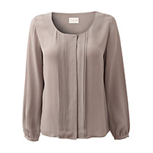 Buy East Pleat Detail Blouse, Soft Pearl Online at johnlewis.com