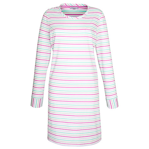 Buy John Lewis Carrie Stripe Nightdress, Grey/Pink Online at johnlewis.com