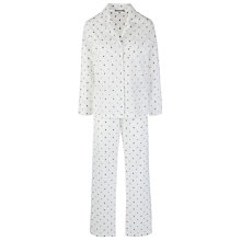 Buy John Lewis Dobby Spot Pyjama Set, Cream / Grey Online at johnlewis.com
