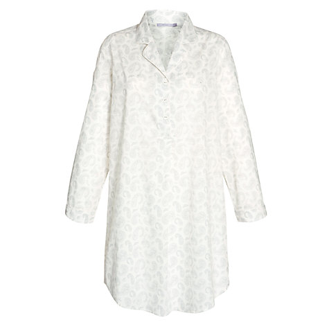 Buy John Lewis Paisley Nightshirt, White / Grey Online at johnlewis.com