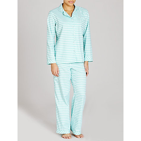 Buy John Lewis Carrie Woven Check Pyjama Set, Green / Ivory Online at johnlewis.com