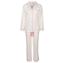 Buy John Lewis Cross Stitch Love Pyjama Set, Pink / Ivory Online at johnlewis.com