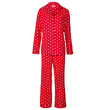 Buy John Lewis Woven Spot Pyjama Set, Red Online at johnlewis.com