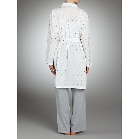 Buy John Lewis Spot Cotton Robe, White / Grey Online at johnlewis.com