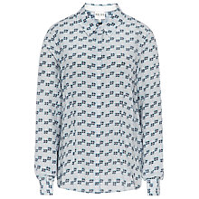 Buy Reiss Lucia Watercolour Printed Silk Shirt, Blue Online at johnlewis.com