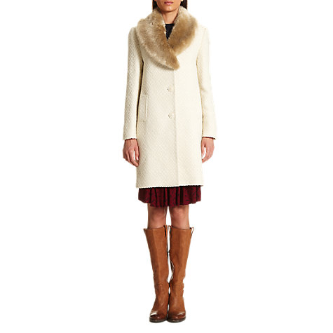Buy Jigsaw Geo Textured Faux Fur Coat, Cream Online at johnlewis.com
