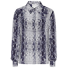 Buy Reiss Silk Snake Print Shirt, Indigo Online at johnlewis.com