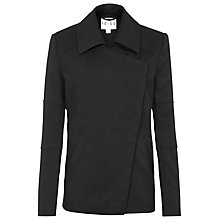 Buy Reiss Lyndon Asymmetric Zip Chevron Jacket, Black Online at johnlewis.com
