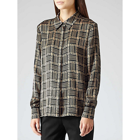 Buy Reiss Pippa Silk Print Shirt, Black Online at johnlewis.com