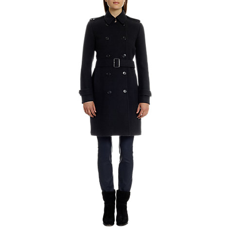 Buy Jigsaw Double Soft Trench Coat, Black Online at johnlewis.com
