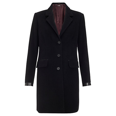 Buy Jigsaw Luxury Coating Coat, Black Online at johnlewis.com