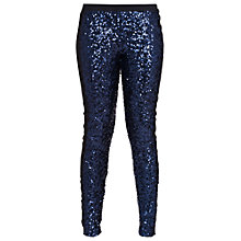 Buy French Connection Tuxedo Sequin Leggings, Blue/Black Online at johnlewis.com