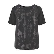 Buy Mint Velvet Jacquard Tee, Black Online at johnlewis.com