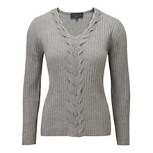 Buy Viyella Plait Cable Jumper, Grey Marl Online at johnlewis.com