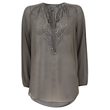 Buy Mint Velvet Stud Yoke Smock Blouse, Green Online at johnlewis.com