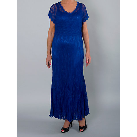 Buy Chesca Crushed Pleat Lace Maxi Dress, Regal Blue Online at johnlewis.com
