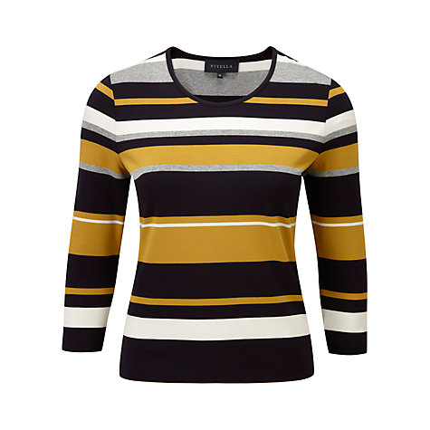 Buy Viyella Variegated Striped Top, Navy/Gold Online at johnlewis.com